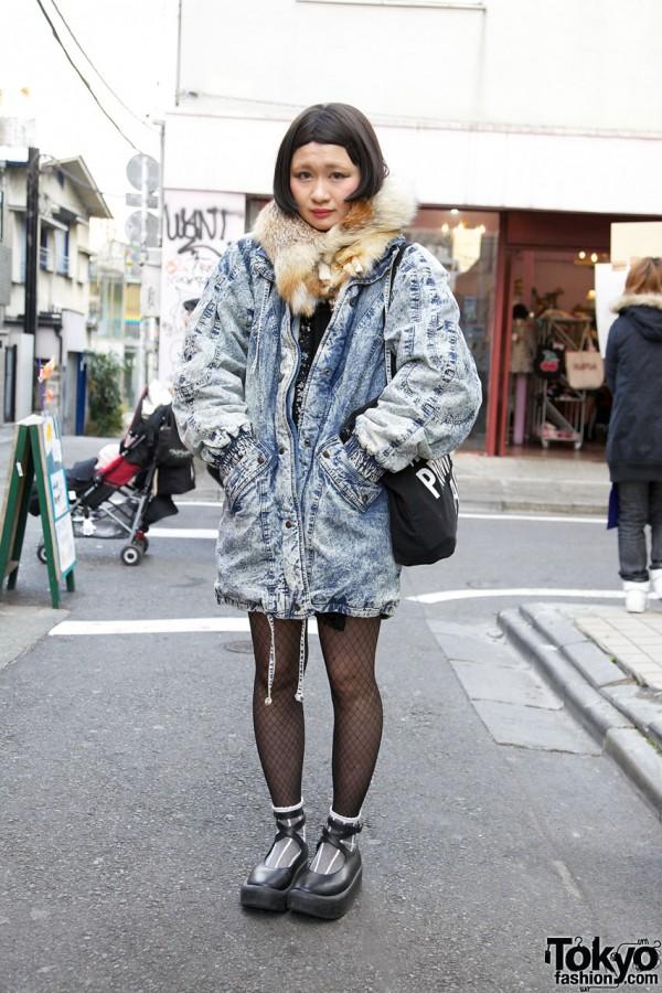 Vintage Acid Wash Jacket & Tokyo Bopper Platform Shoes in Harajuku