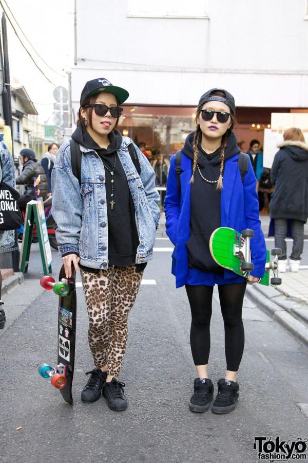 Harajuku Skateboard Girls in Adidas Superstar 2 & Vans Sneakers
