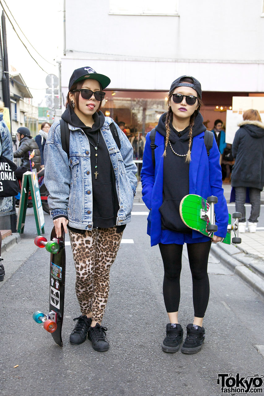 Harajuku Skateboard Girls In Adidas Superstar 2 Vans Sneakers