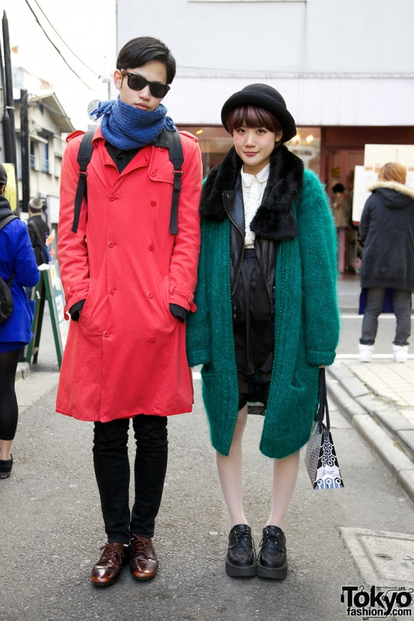 Red trench coat & green mohair sweater in Harajuku