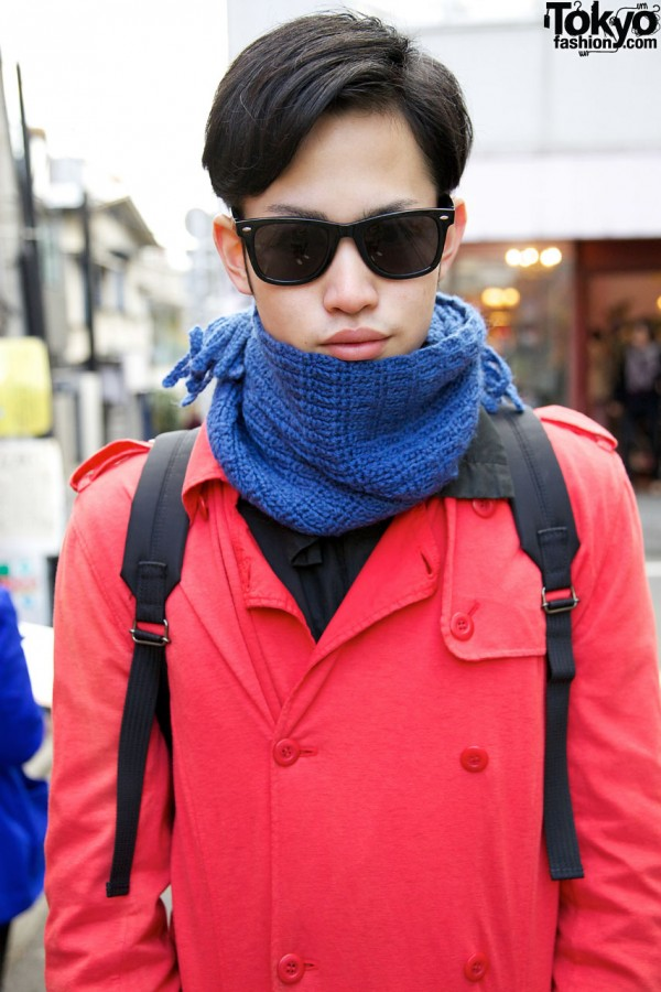 Blue knit scarf & Diet Butcher Slim Skin trench in Harajuku