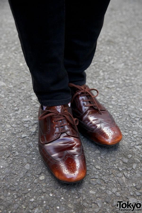 Brown wingtip dress shoes in Harajuku