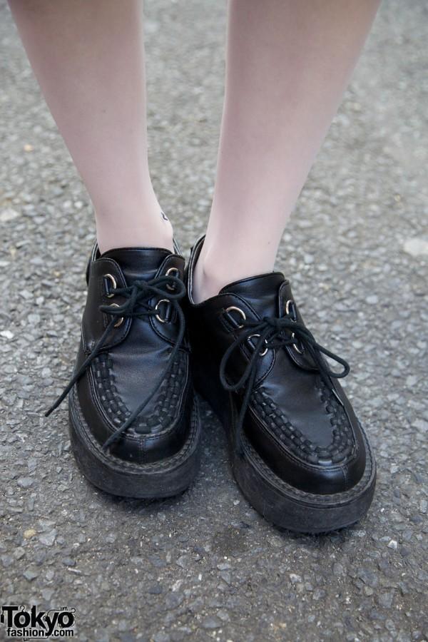 White tights & black creepers in Harajuku