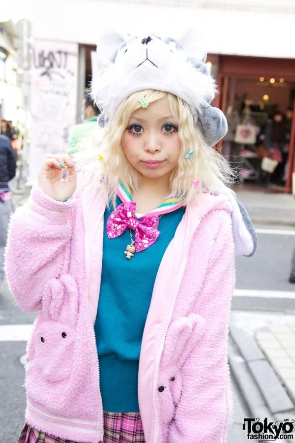Fat Cat Cute Pink Hoodie in Harajuku
