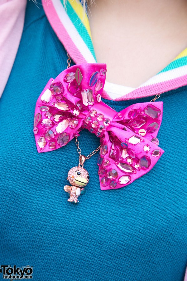 Cute Pink Bow & Necklace in Harajuku