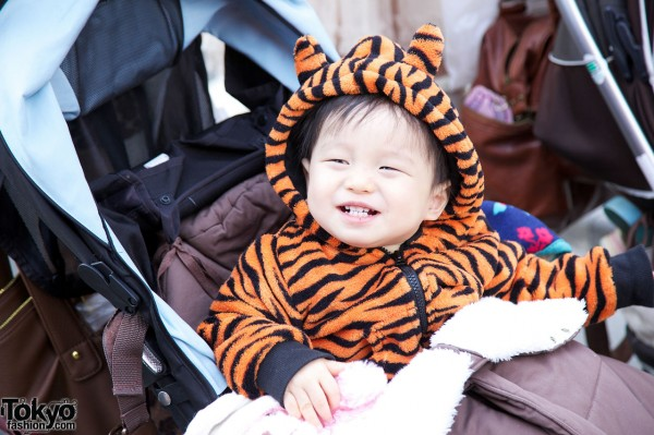 Cute Japanese Baby in Tiger Hoodie