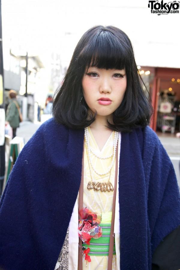 Fringed blue shawl in Harajuku