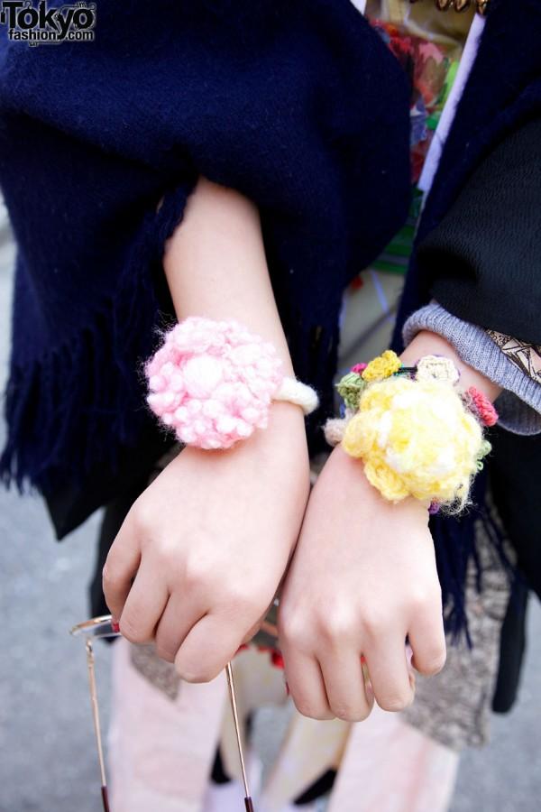 Crochet flower wristbands in Harajuku