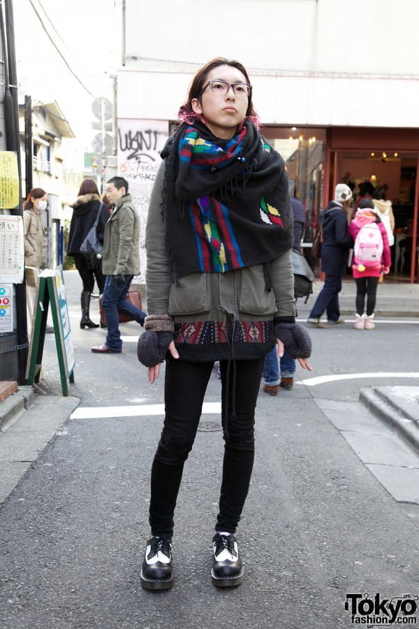 Ethnic scarf & Two-Tone Dr. Martens in Harajuku
