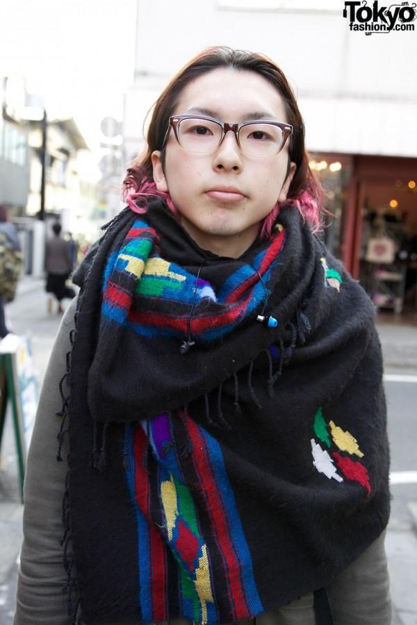 Fringed Native American inspired scarf in Harajuku