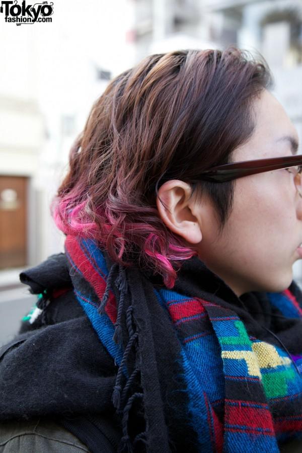 Guy's pink-tipped hair in Harajuku