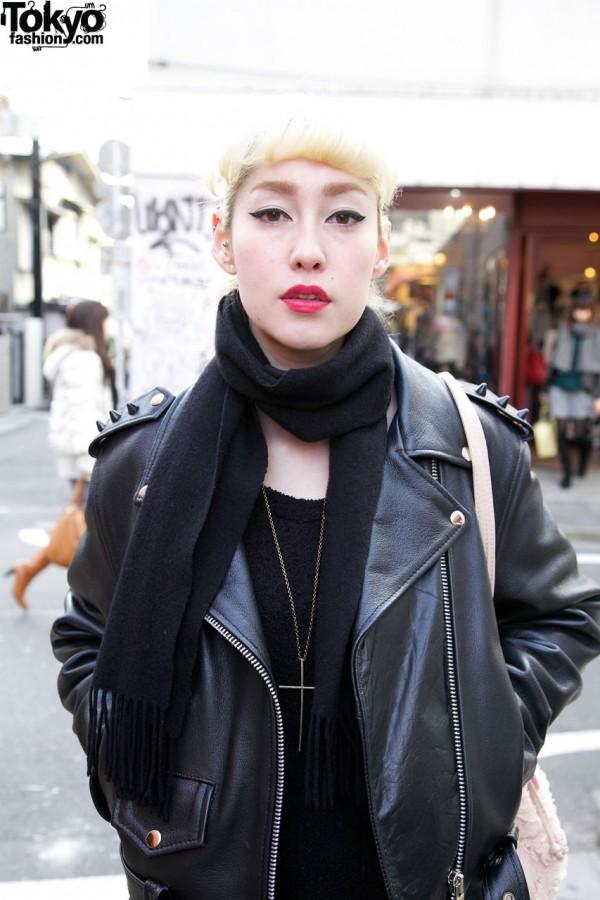 Black scarf & motorcycle jacket in Harajuku