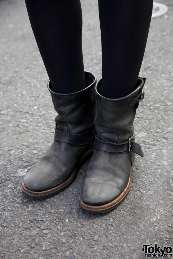 Shibuya Frontier boots in Harajuku