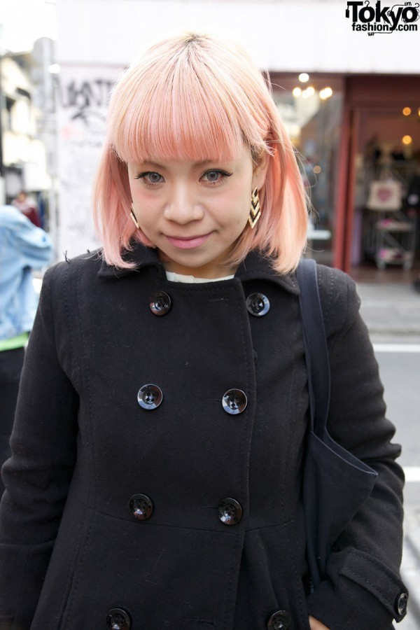 Double-breasted H&M coat in Harajuku