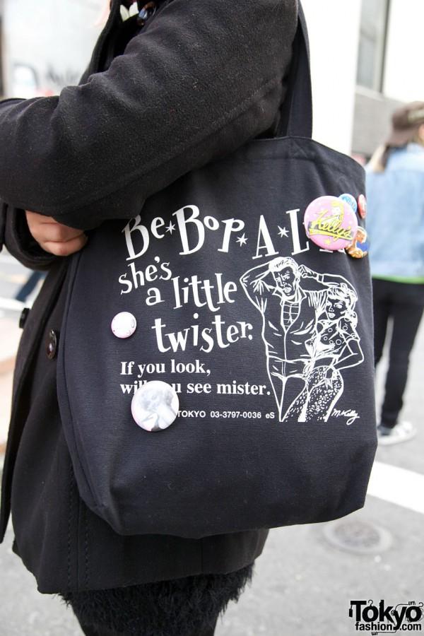 eS Harajuku bag w/ retro graphics & buttons