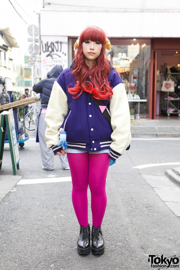 Girl's Purple Letterman Jacket, Short Shorts & Hot Pink Tights