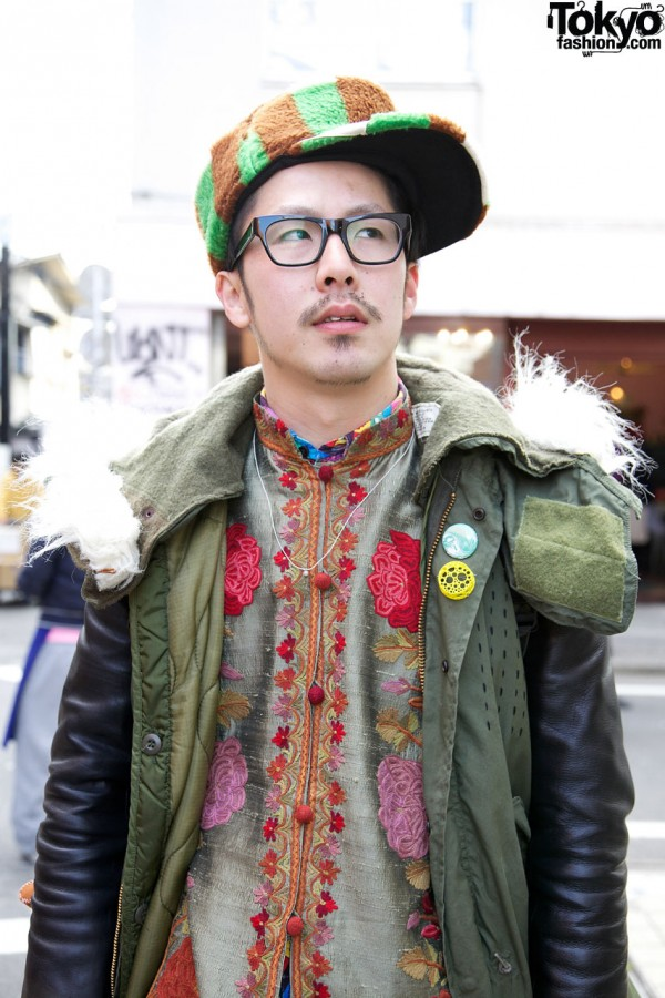 Embroidered shirt & fur trimmed parka in Harajuku