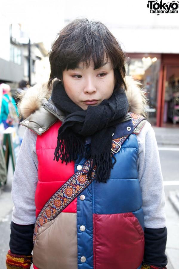 X-Girl vest with fur trim in Harajuku