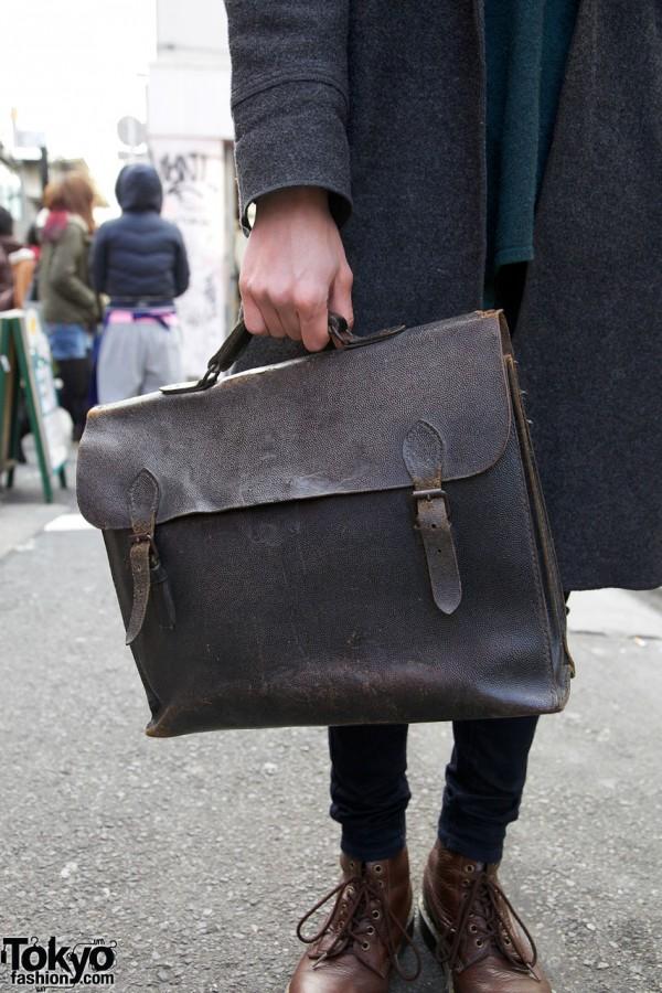 Leather Hanjiro satchel in Harajuku