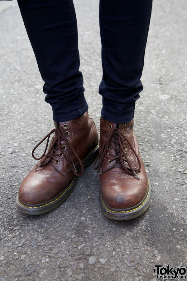 Uniqlo skinny pants & Dr. Martens boots in Harajuku
