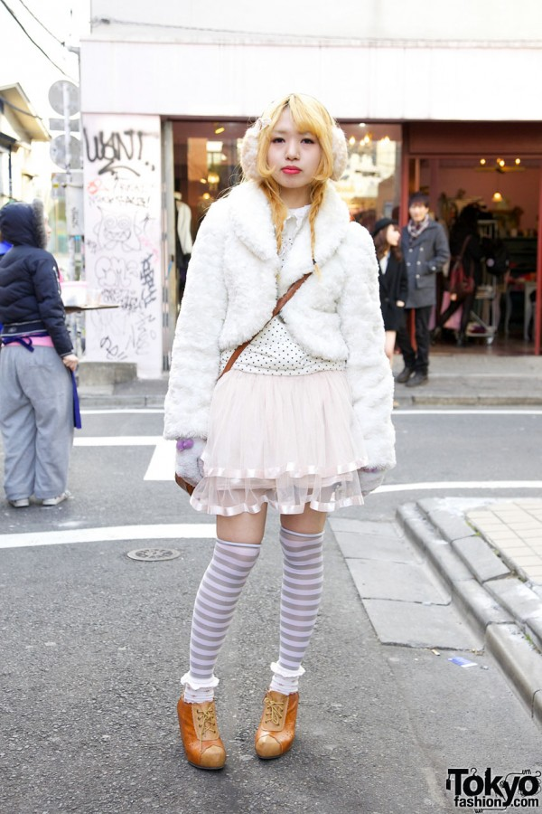 Tulle Skirt & Striped Socks in Harajuku