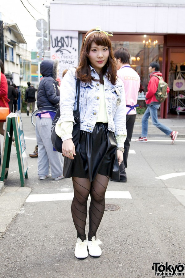 Akari in Acid Wash Jacket in Harajuku