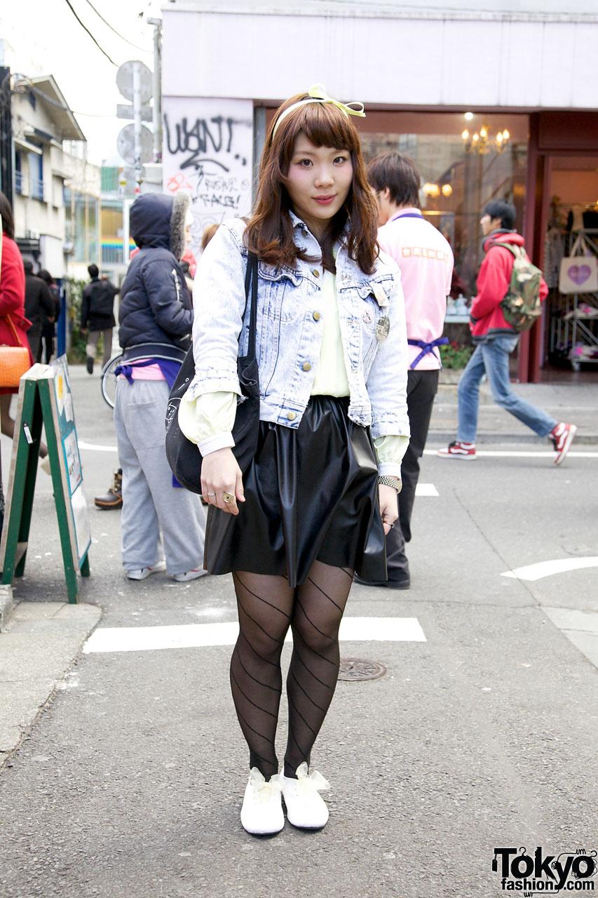 Akari in Acid Wash Jacket in Harajuku