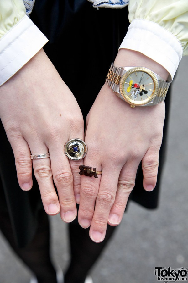 Button Ring & Vintage Mickey Mouse Watch