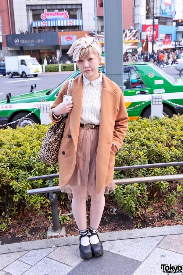 Beige Fashion, Headscarf & Opening Ceremony Bag in Harajuku