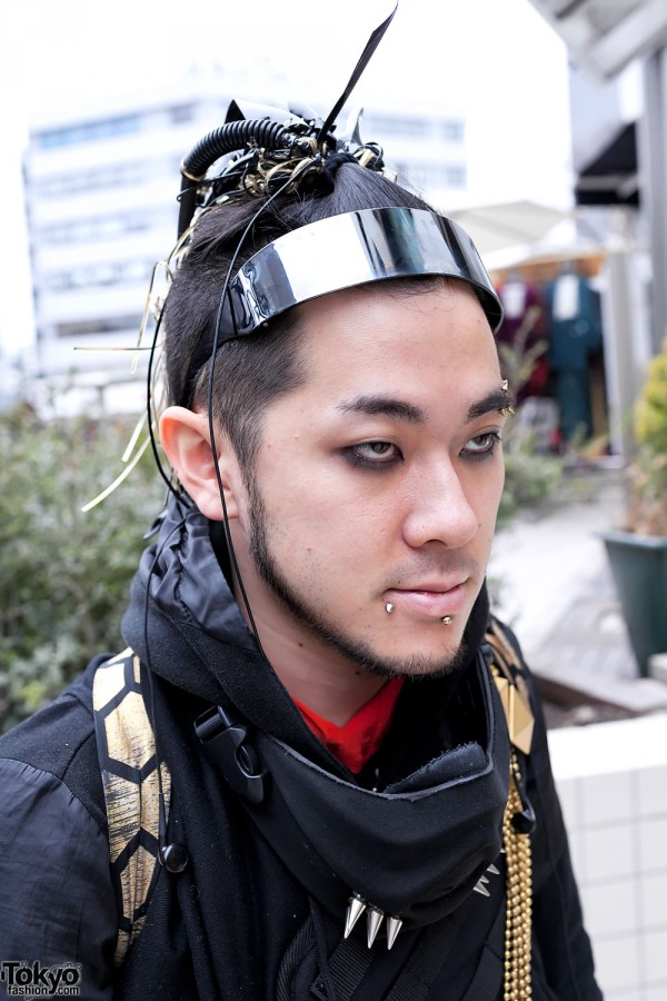 Pierced Cybergoth guy in Harajuku