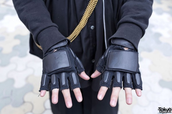 Padded Cybergoth Gloves in Harajuku
