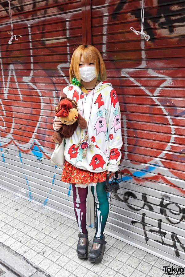 Girl Wearing Frogs, Eyeballs & Strawberries on Takeshita Dori