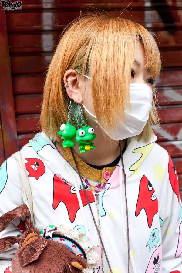 Kawaii Frog Earrings in Harajuku