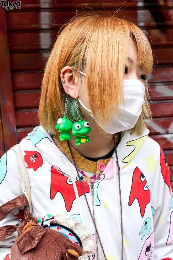 Kawaii Frog Earrings in Harajuku
