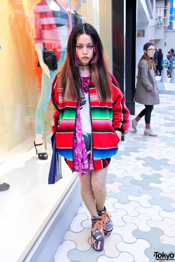 Hirari Ikeda in Mexican Blanket Jacket & Moonspoon Saloon