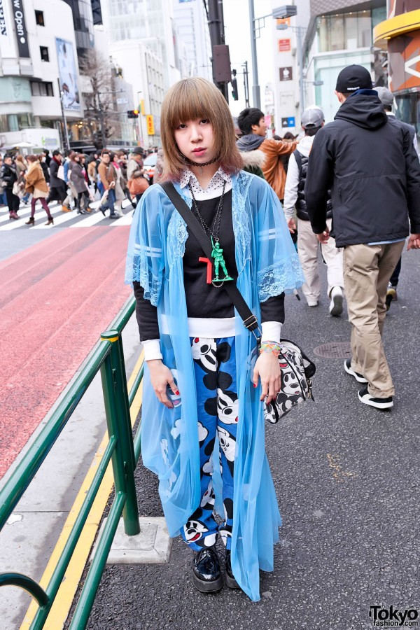 Harajuku Girl in Sheer Blue Negligee