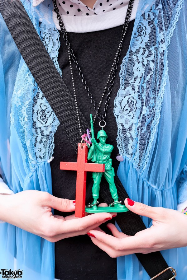 Toy Soldier Necklace & Wooden Cross