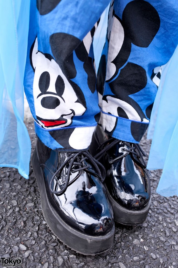 Mickey Mouse Pants & Platform Shoes in Harajuku