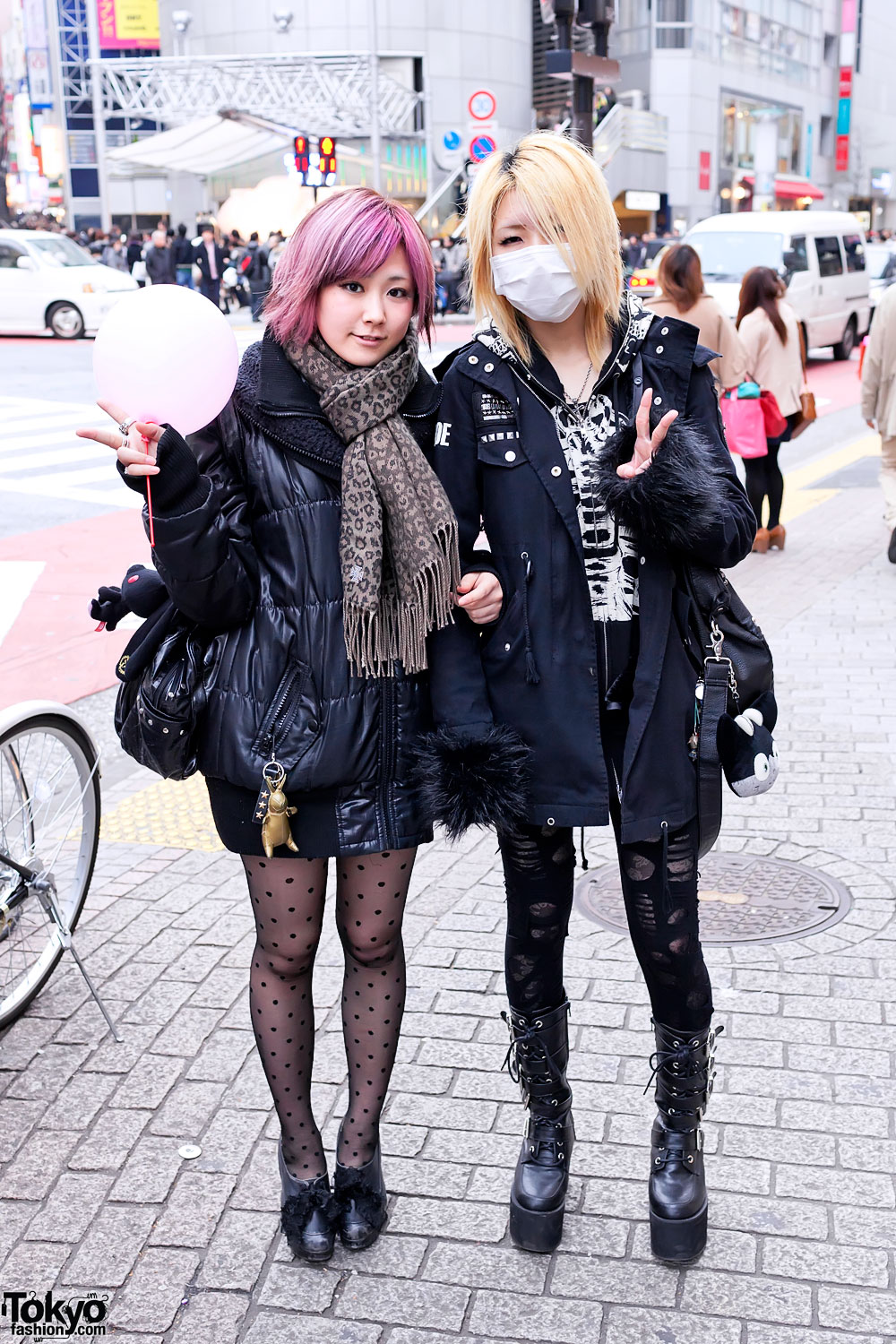 Platform Buckle Boots Ripped Leggings Pink Hair In Shibuya