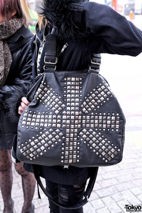 Black Leather Studded Purse