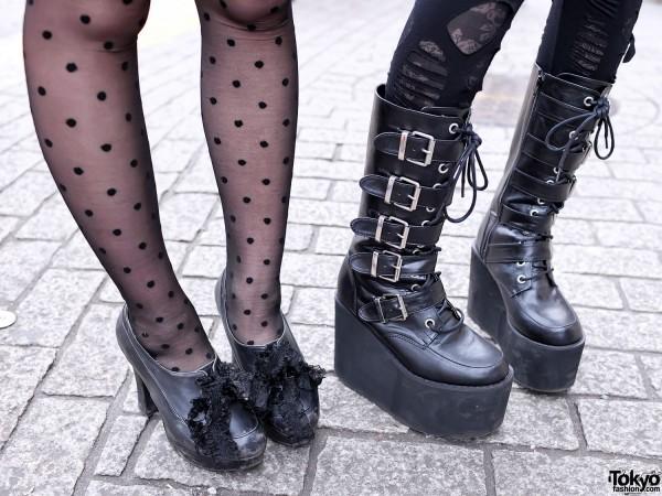 Platform Buckle Boots & Torn Leggings