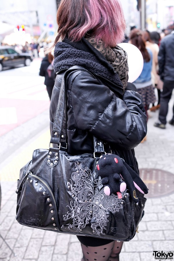 Black Purse With Cute Bunny in Shibuya