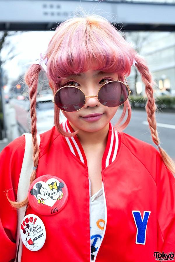 Pink Braids & Round Glasses in Harajuku