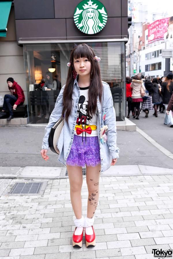 Acid Wash Denim Shirt, Tulle Skirt & Large Clock Bag in Harajuku
