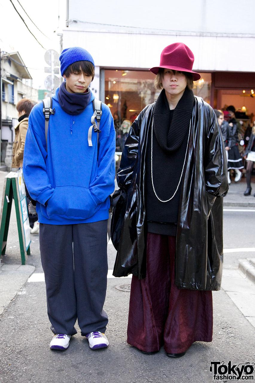 Hoodie & knit cap vs. slick coat & felt hat in Harajuku