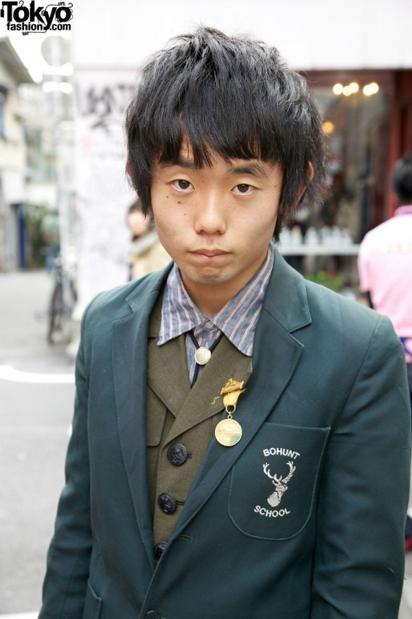 Bolo tie, crested jacket & medal in Harajuku