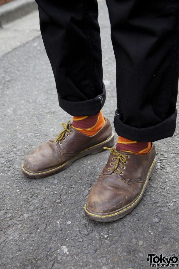 Cuffed Wranglers, bright socks & Dr. Martens