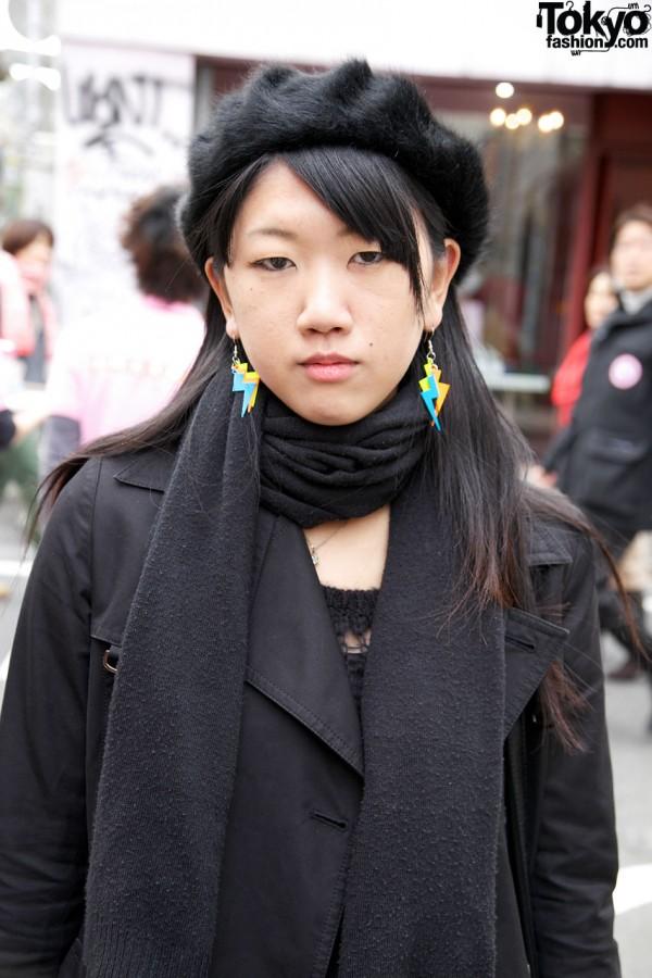 Fur beret & Kinji trench in Harajuku