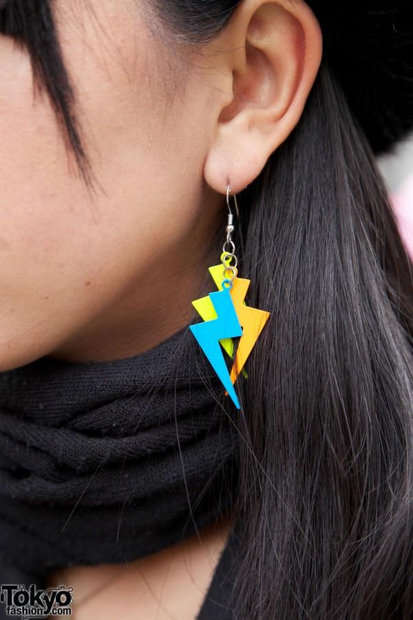 Lightning bolt earrings by Perfume