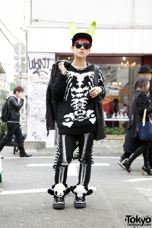 Harajuku Guy's Skeleton Coordinates, Pink Hair & Jeremy Scotts